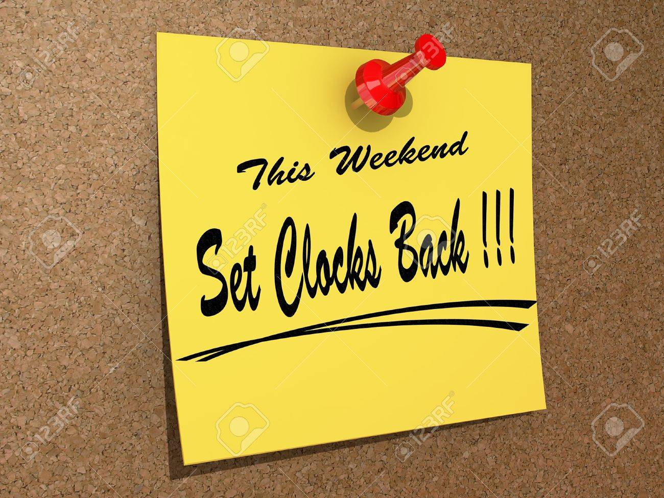A note pinned to a cork board with the text This Weekend Set Clocks Back. Stock Photo - 17572089