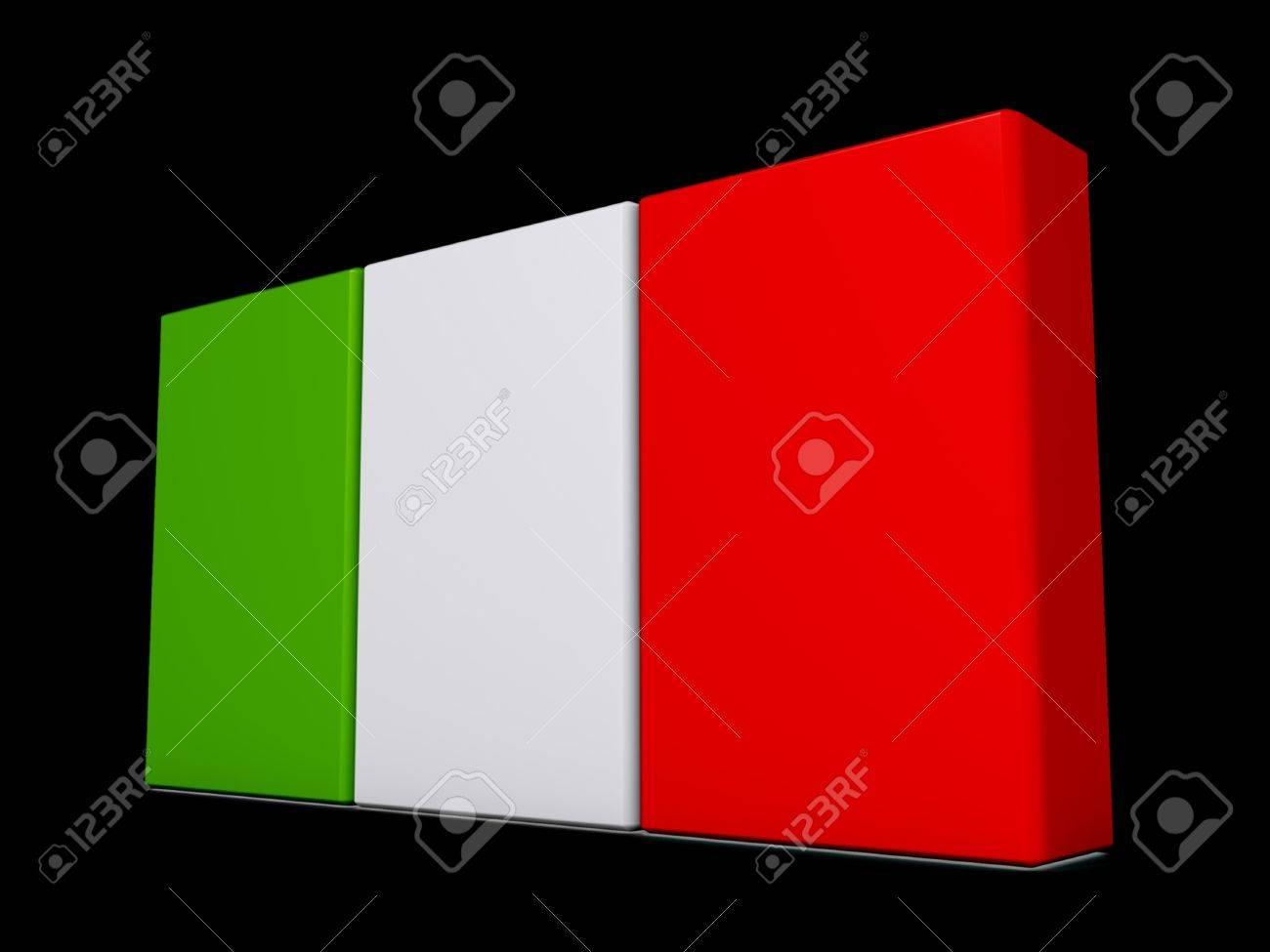 Italy Flag on a shiny black background. Stock Photo - 18356831