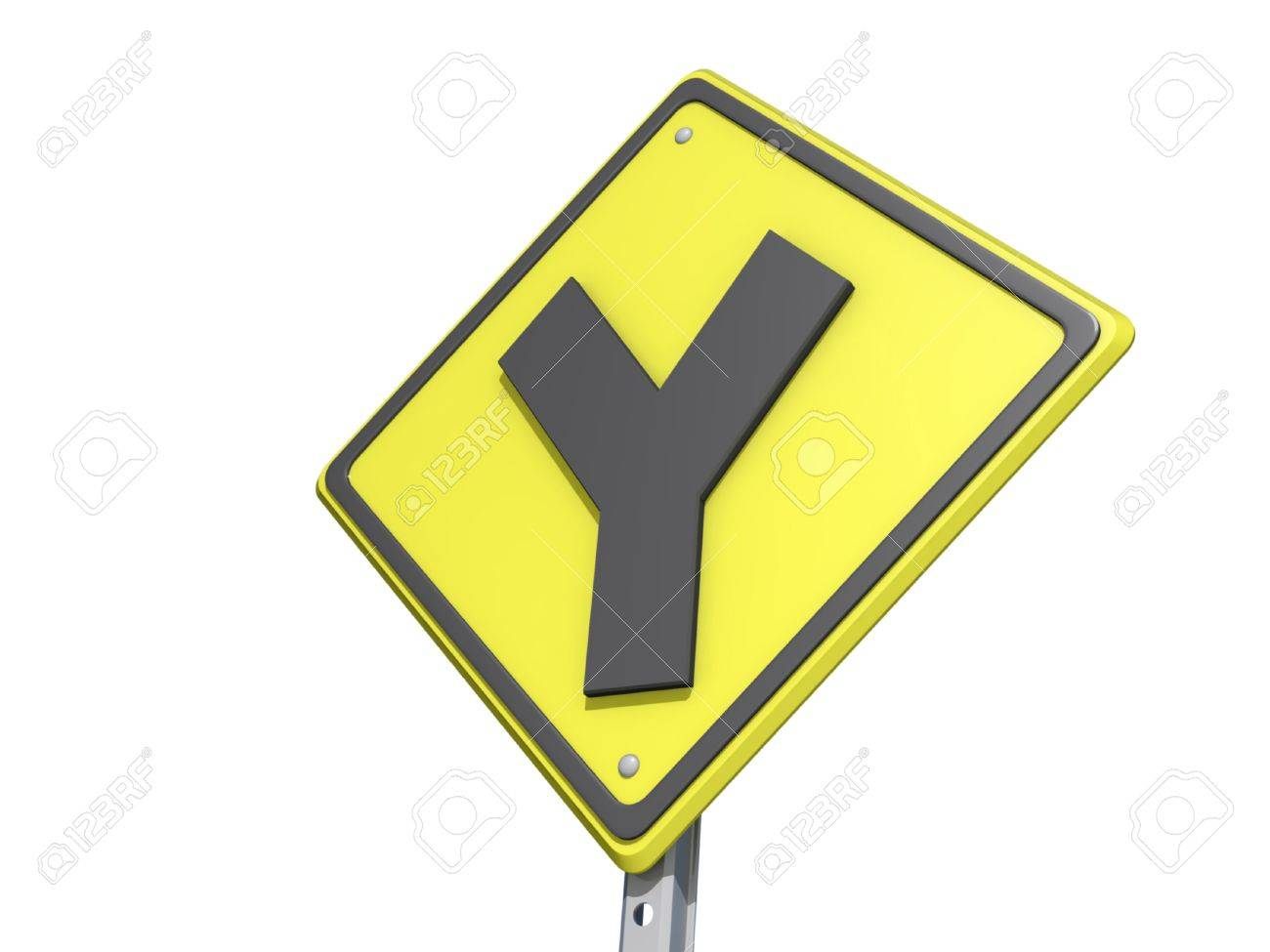Y Intersection Sign A yield road sign with Y