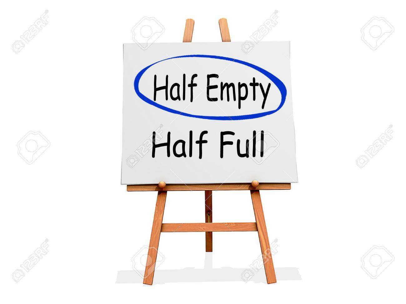 Art Easel on a white background with Half Empty circled instead of Half Full Stock Photo - 18985696