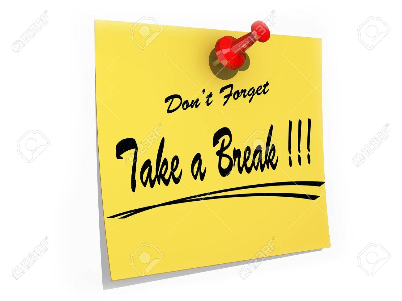A note pinned to a cork board with the text Don't Forget Take a Break. Stock Photo - 19081193