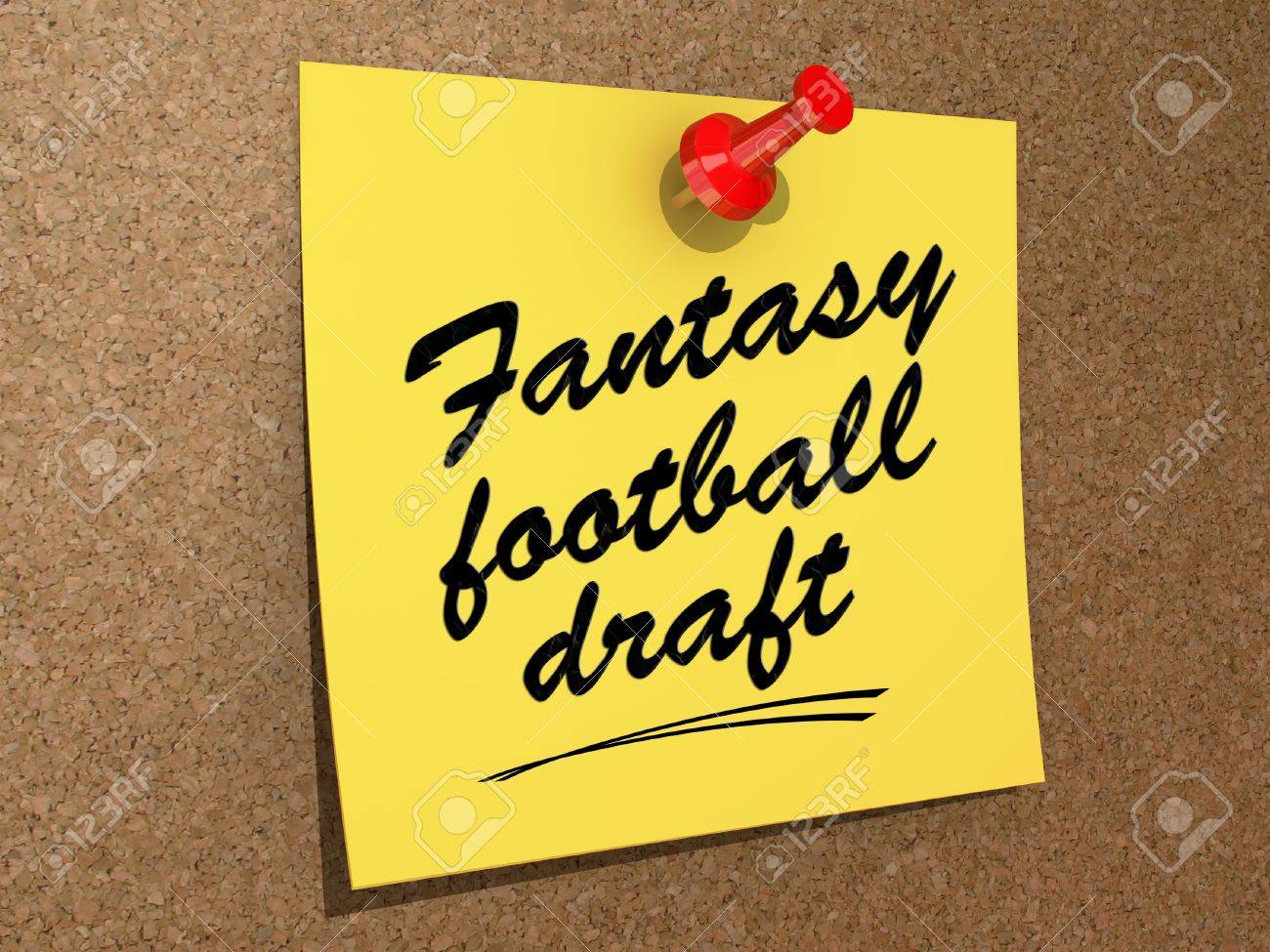 A note pinned to a cork board with the text Fantasy Football Draft Stock Photo - 19327543