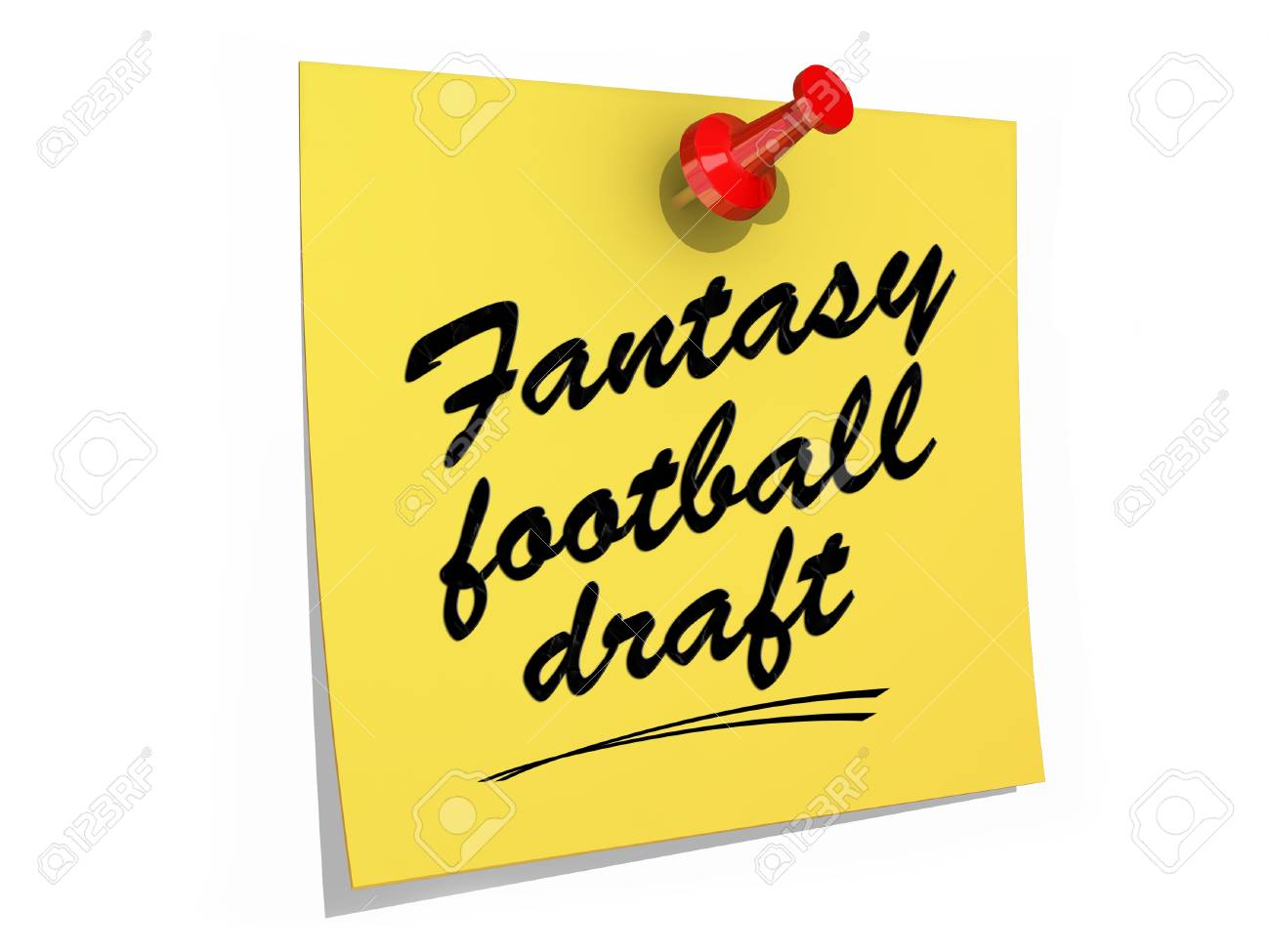 A note pinned to a white background with the text Fantasy Football Draft Stock Photo - 19327531