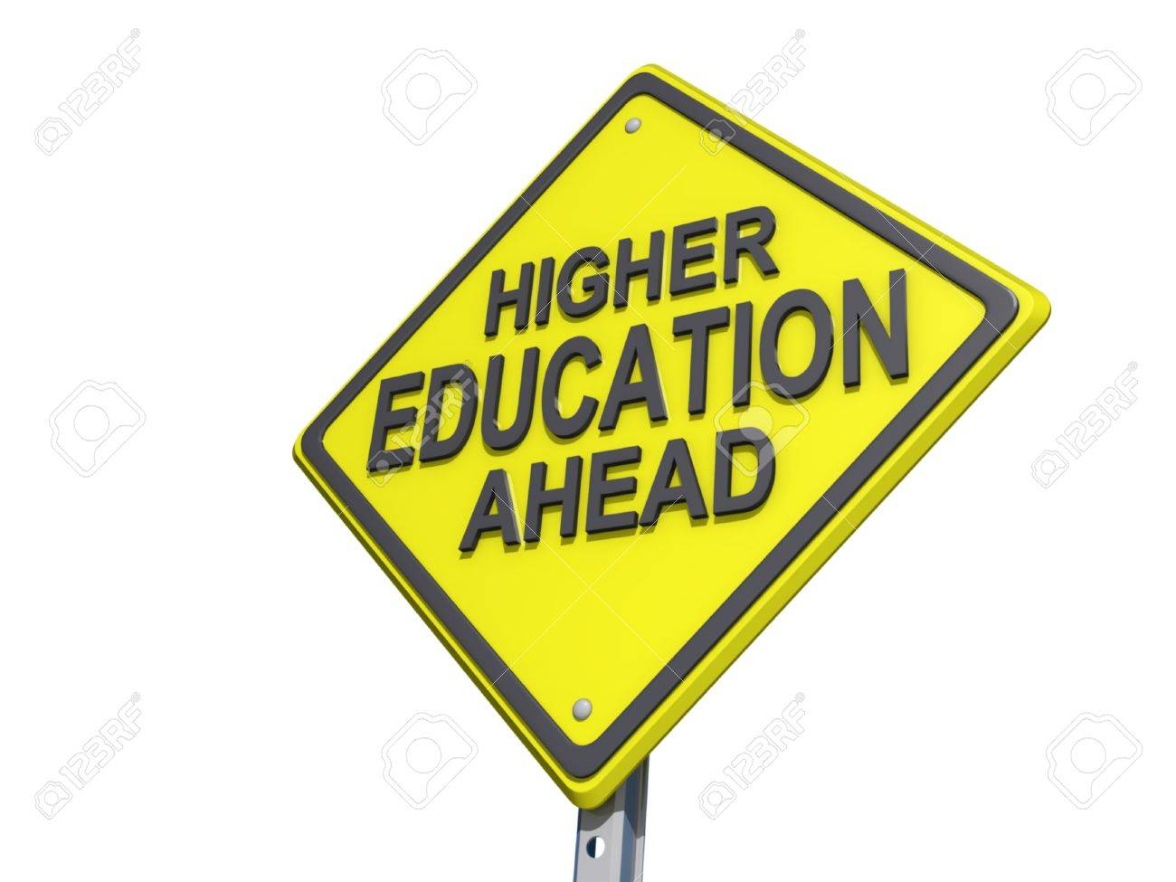 The Road To Higher Education With >> A Yield Road Sign With Higher Education Ahead Stock Photo Picture