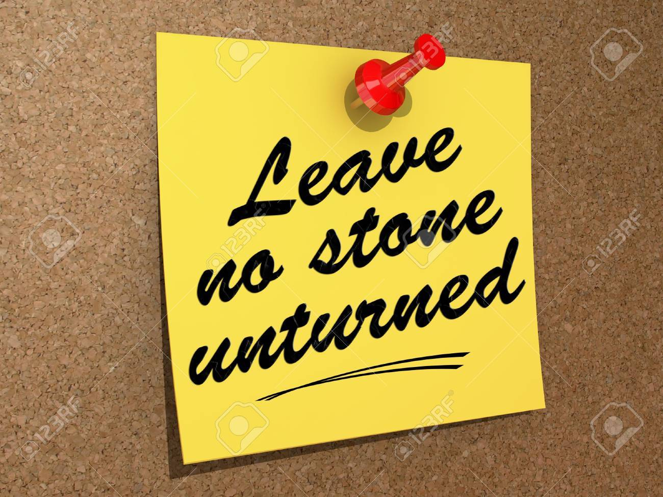 A note pinned to a cork board with the text Leave No Stone Unturned Stock Photo - 19454906