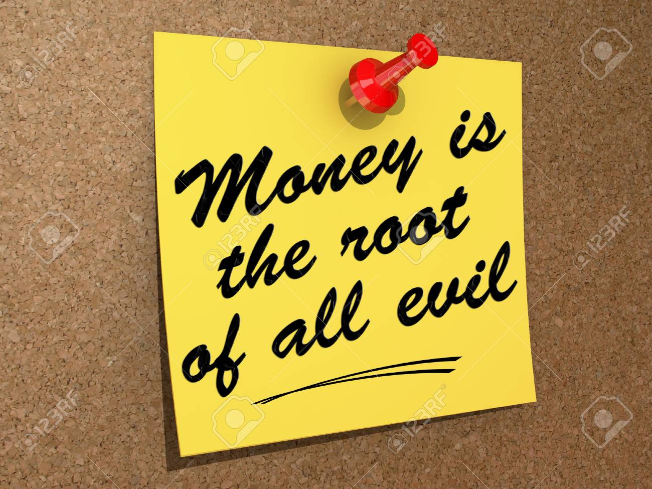 A note pinned to a cork board with the text Money Is the Root of All Evil Stock Photo - 19454908