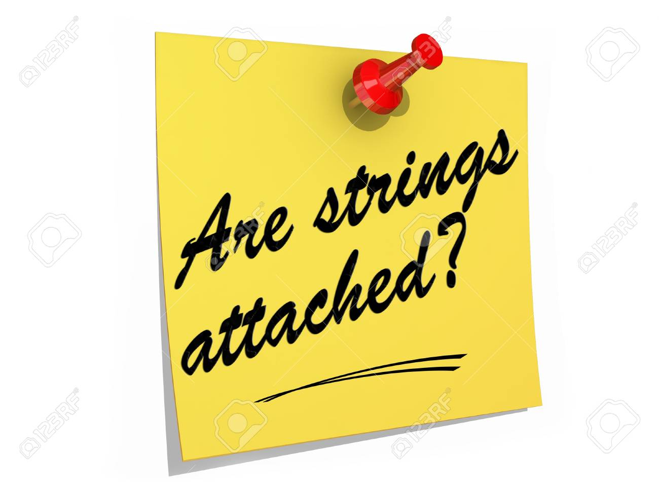 A note pinned to a white background with the text Are Strings Attached? Stock Photo - 19454922