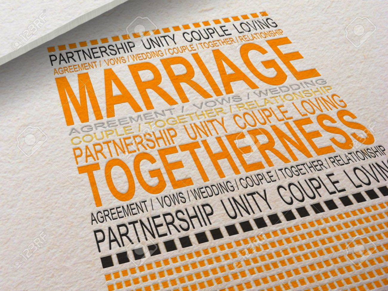 The word Marriage letterpressed into paper with associated words around it Stock Photo - 20402156