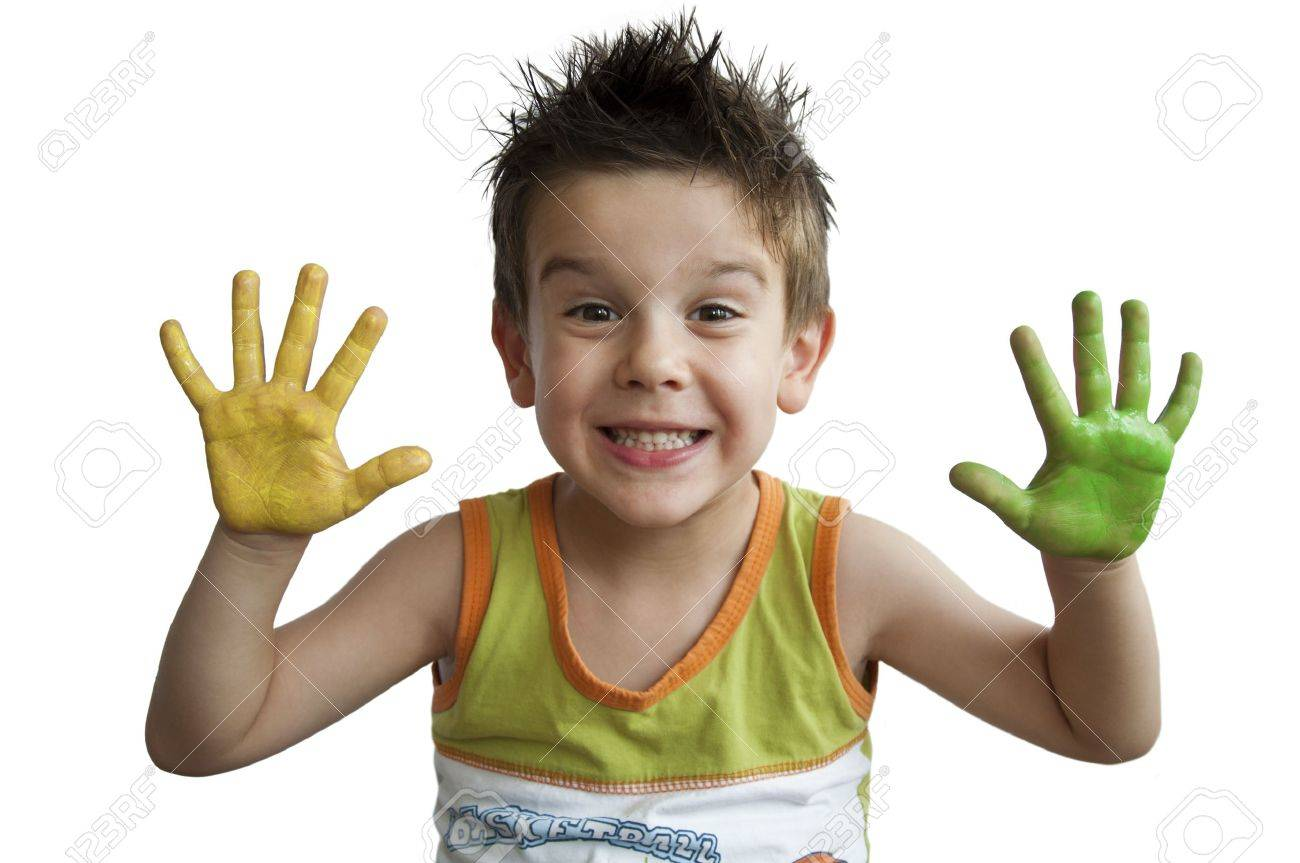 Children colored hands. Little boy hands.White isolated Stock Photo - 9927459