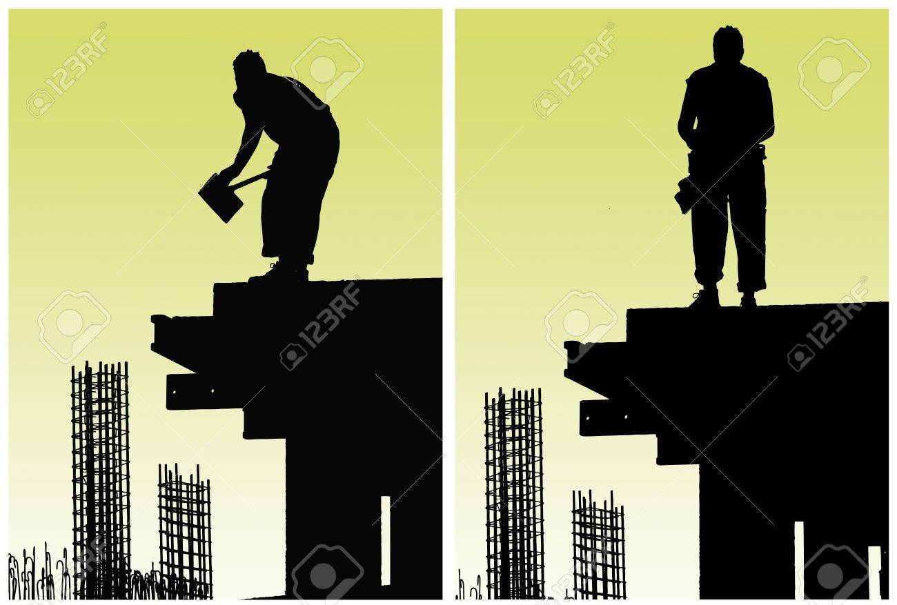 Construction workers put formwork and armature Stock Photo - 10544456