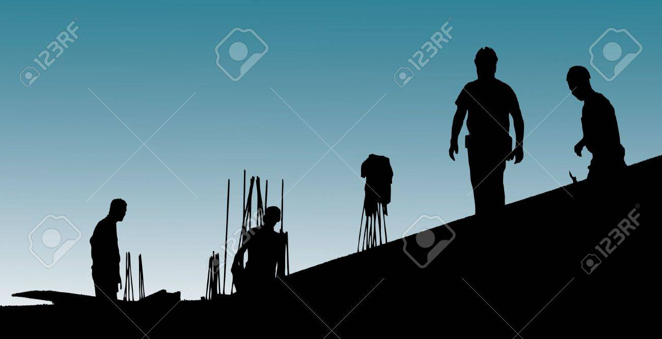 Construction workers put formwork and armature Stock Photo - 10544448