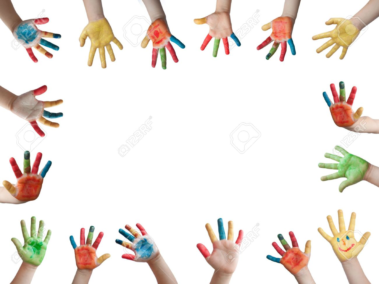 children painted hands stock photo picture and royalty free image