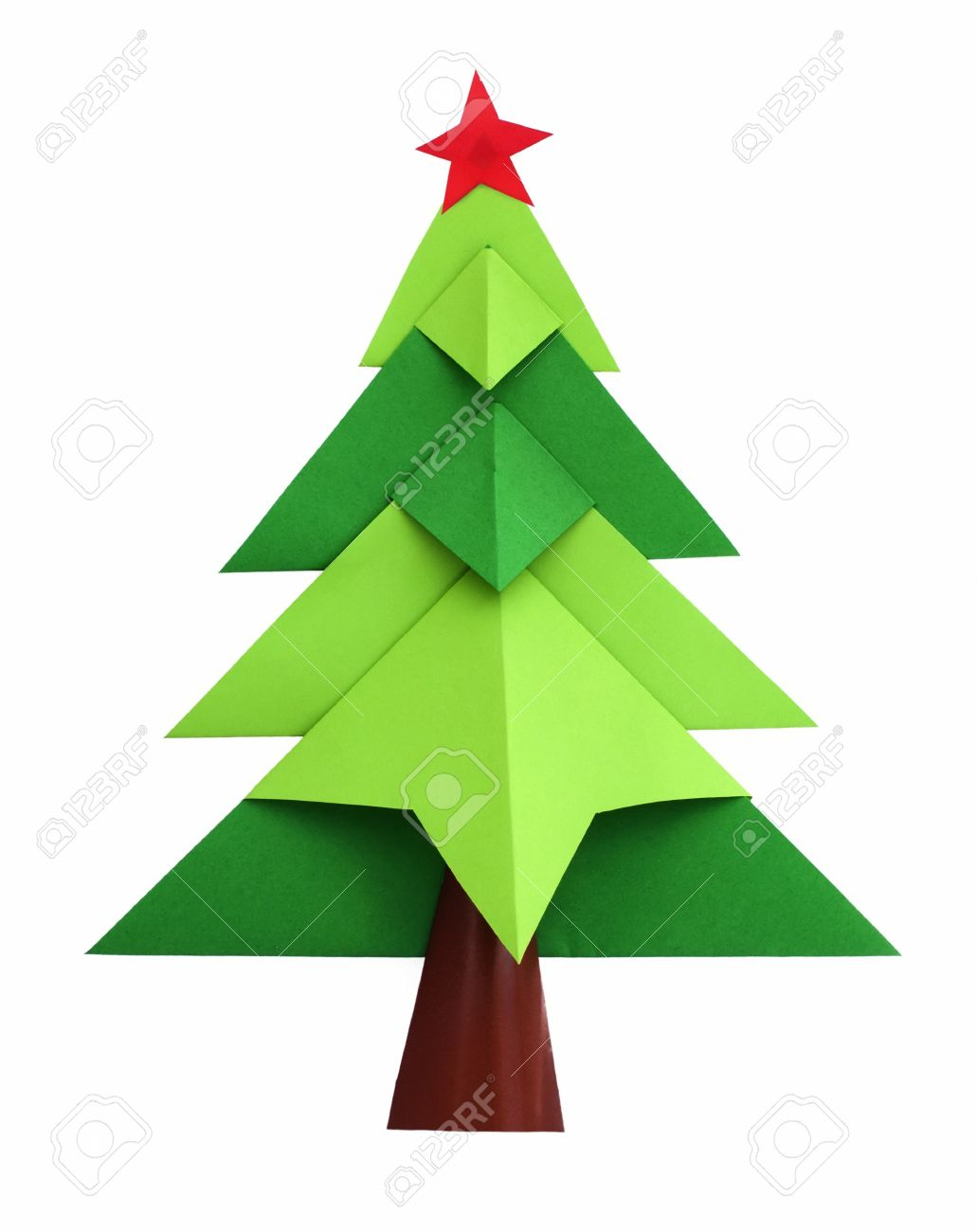 Christmas Tree White Isolated Origami Stock Photo Picture And