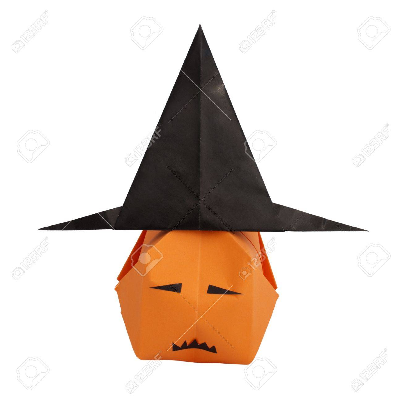 Witch Hat And Pumpkin 3D Origami Made Stock Photo Picture