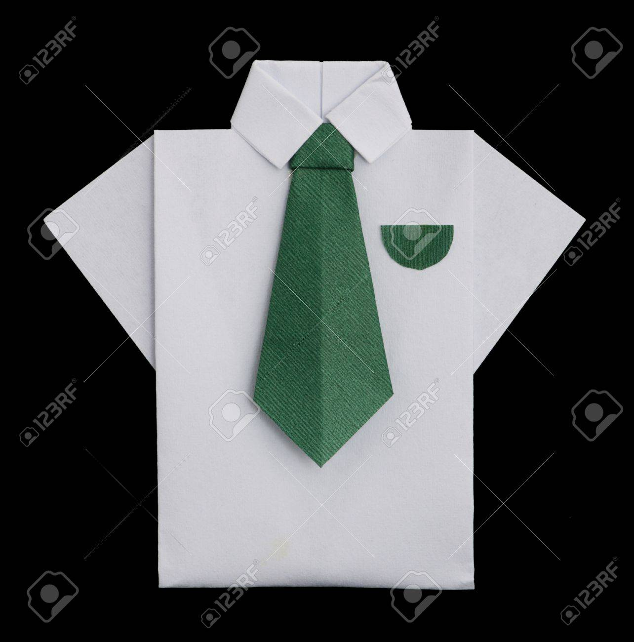 Isolated paper made white shirt with green tielded origami isolated paper made white shirt with green tielded origami style stock photo 16317667 jeuxipadfo Gallery