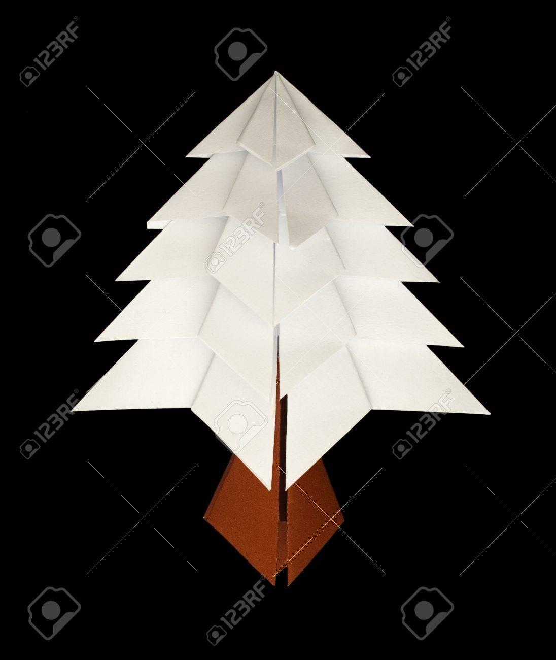 White christmas tree made of paper. Origami evergreen tree Stock Photo - 16317623