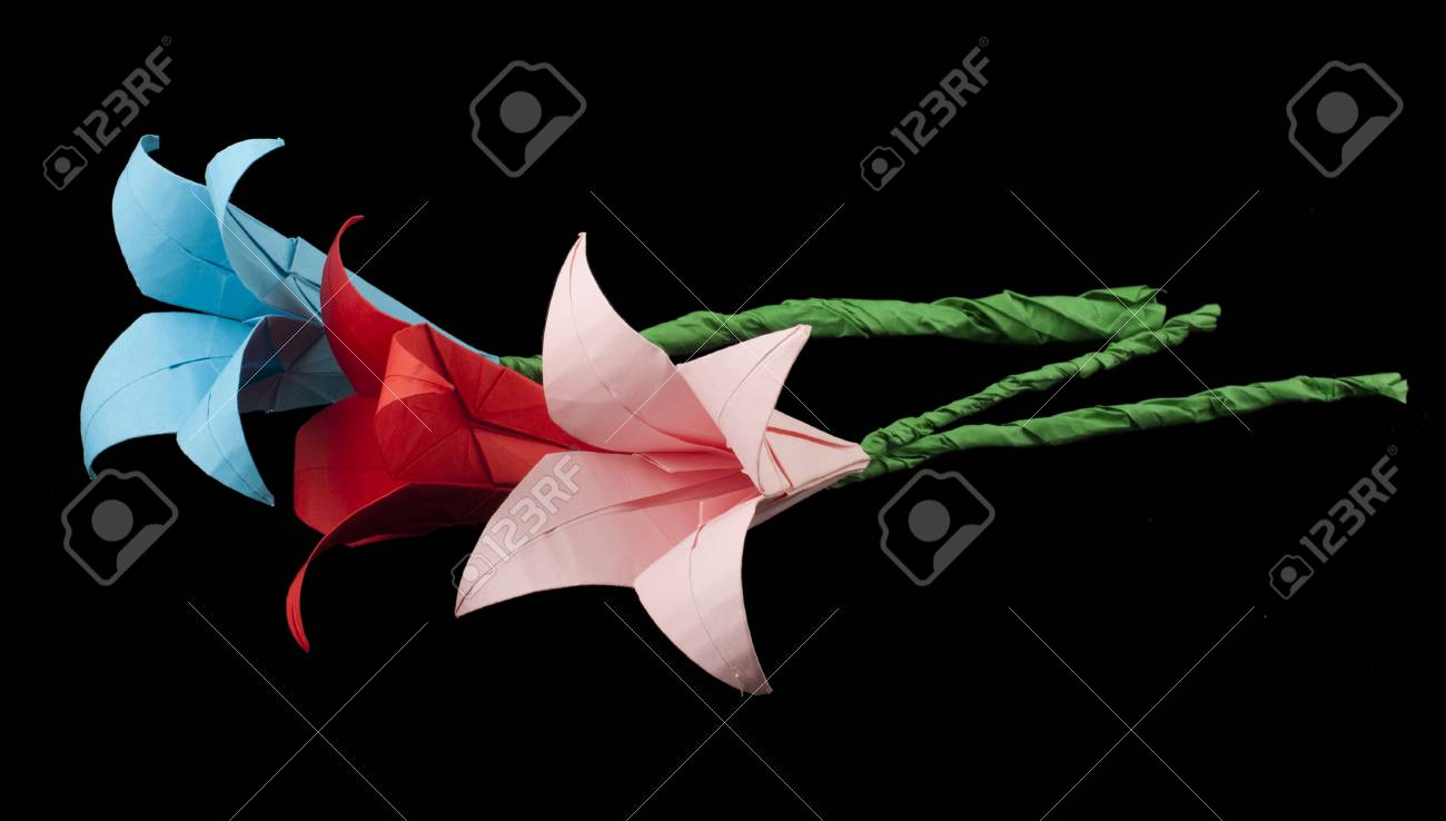 Pink And Red Flowers Origami Black Isolated Paper Made Flowers