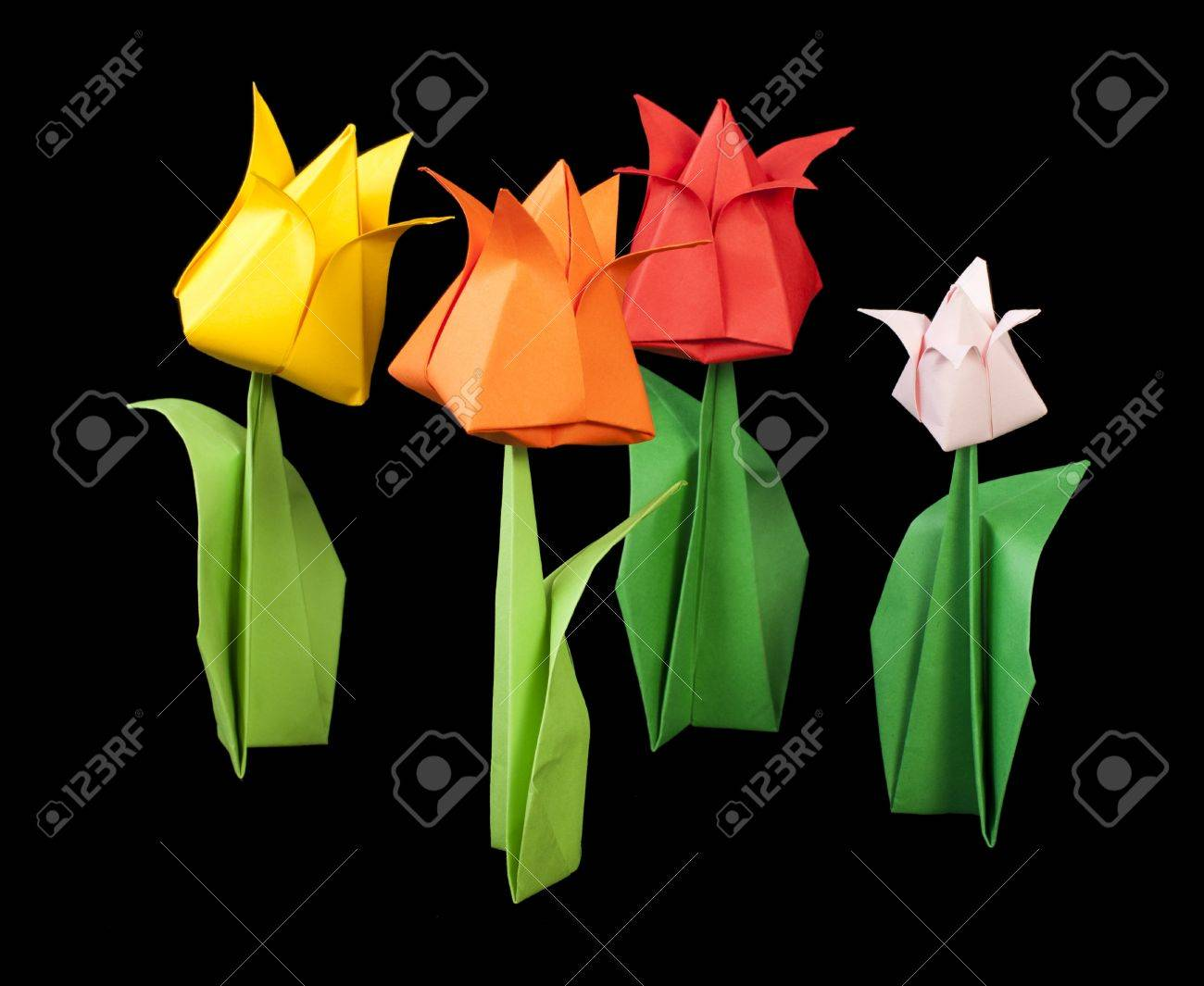 Tulips isolated on black background paper made flowers stock photo stock photo tulips isolated on black background paper made flowers mightylinksfo Images