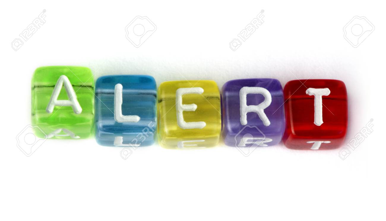 Word alert. White isolated cubes Stock Photo - 17267628