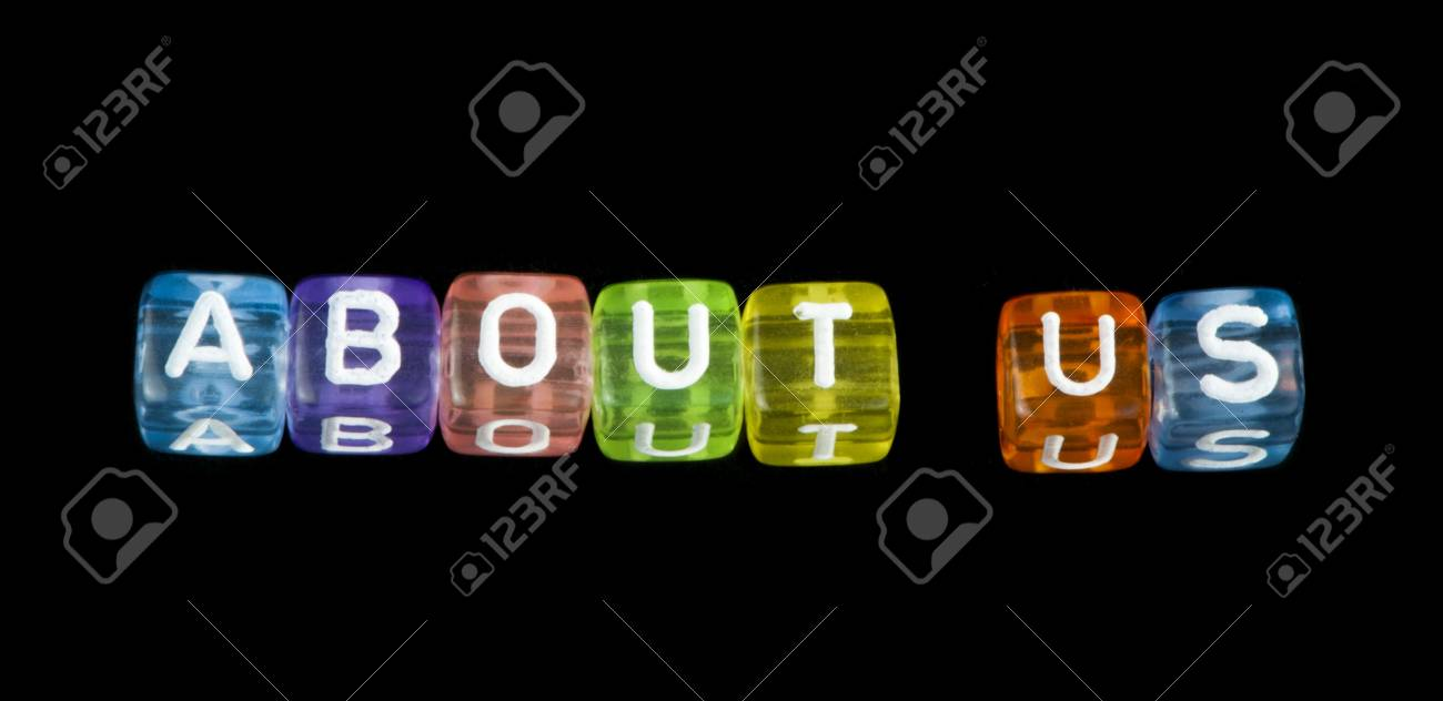 Word About us. Black isolated cubes Stock Photo - 17267578