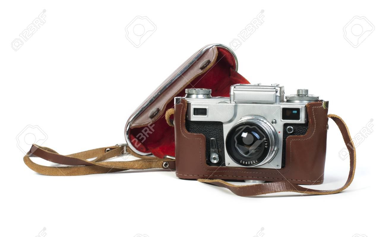 Old vintage camera white isolated. Studio shot Stock Photo - 18232332