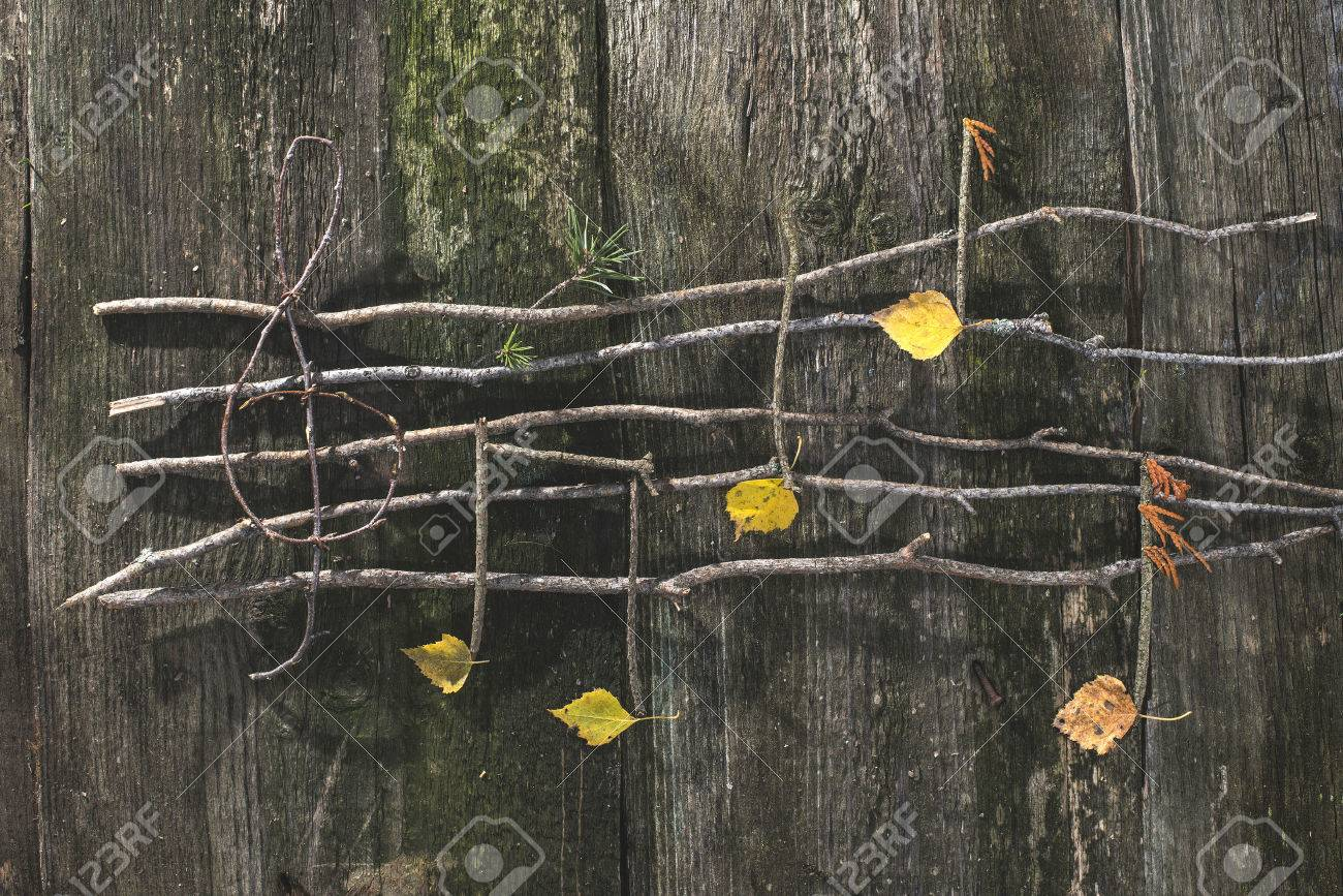 Musical notes conception. Wooden musical notes and leaves - 44400953