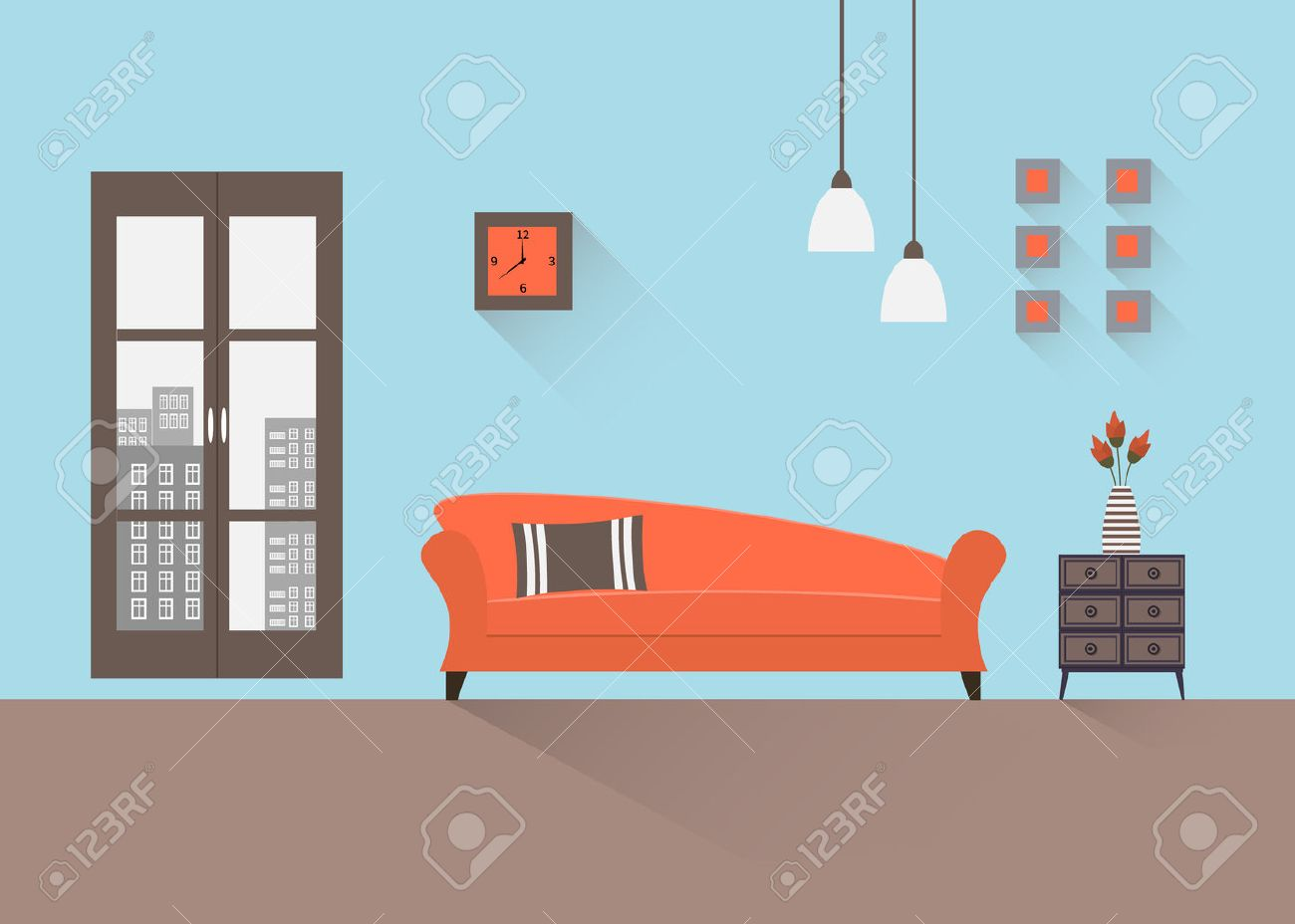 Interior of a living room. Modern flat design illustration. - 44701145