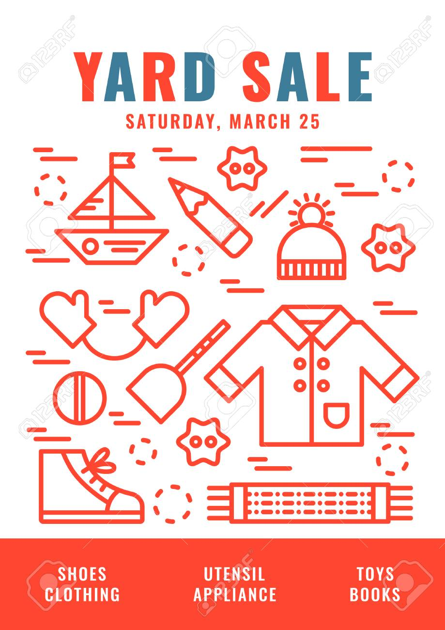 garage sale flyer template vector line style illustration royalty