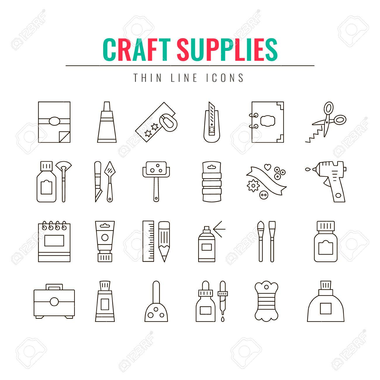 Craft Supplies Materials Thin Line Icons Set Elements For