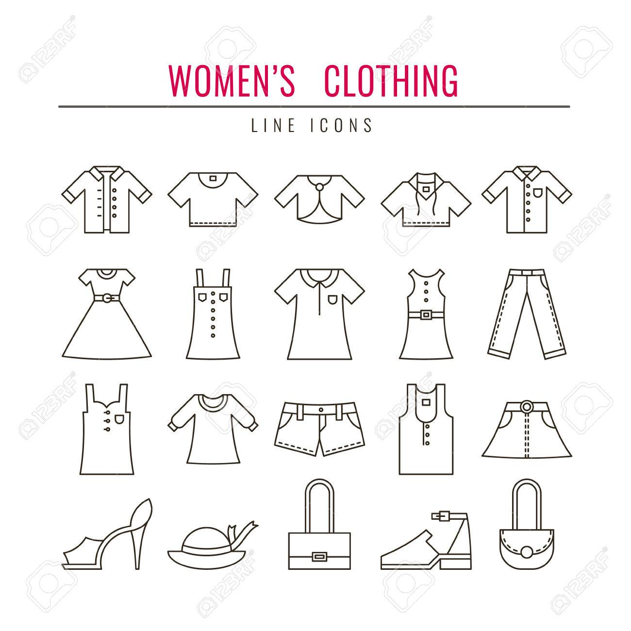women s clothing outline icons set design elements for websites