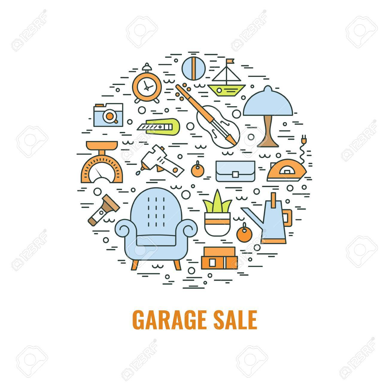 Garage sale sign. Template for poster, banner, flyer.Yard sale flyer template. Vector line style illustration. - 85986118
