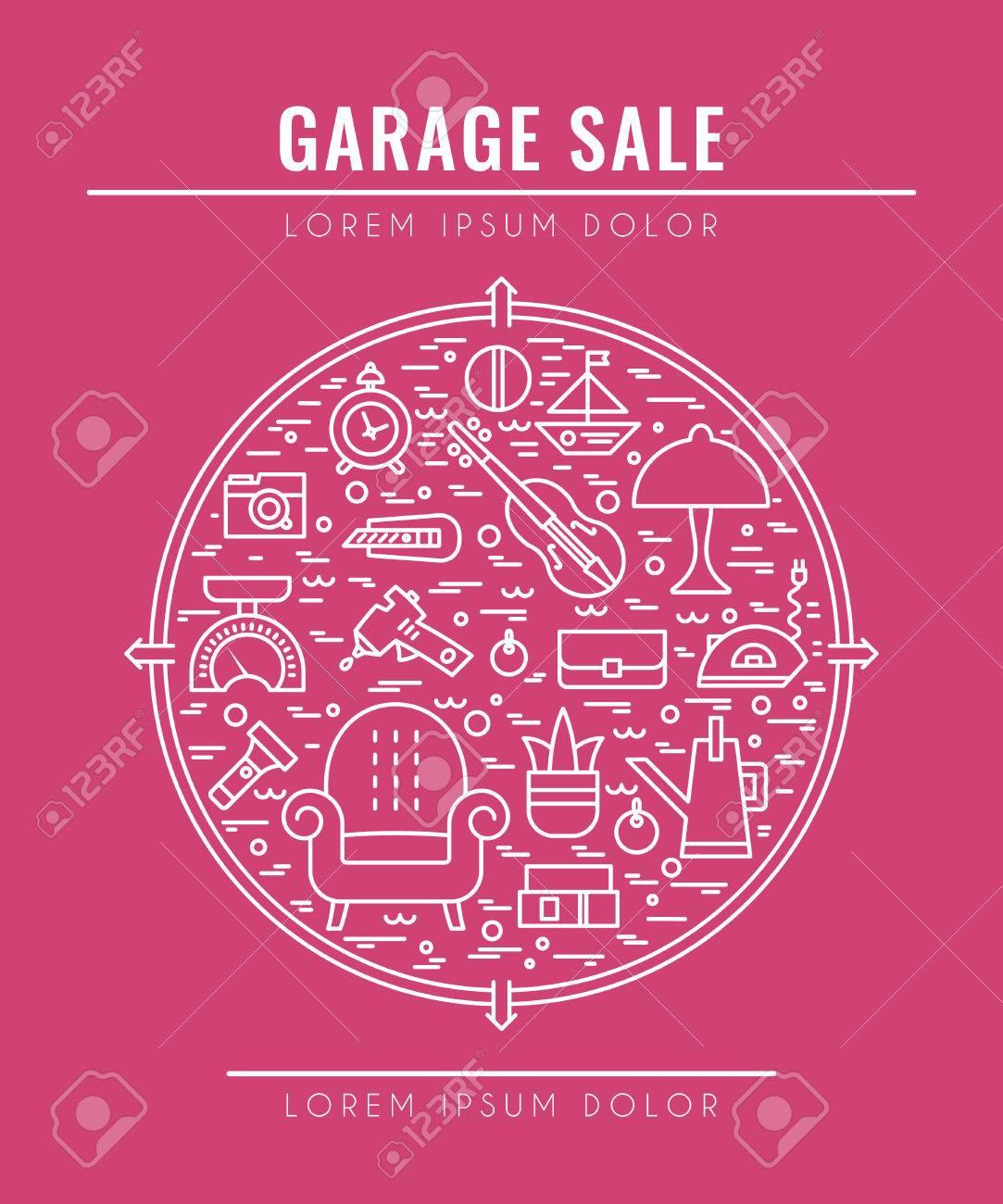 英文ガレージ セール ポスター。ポスター、バナー、チラシのテンプレート