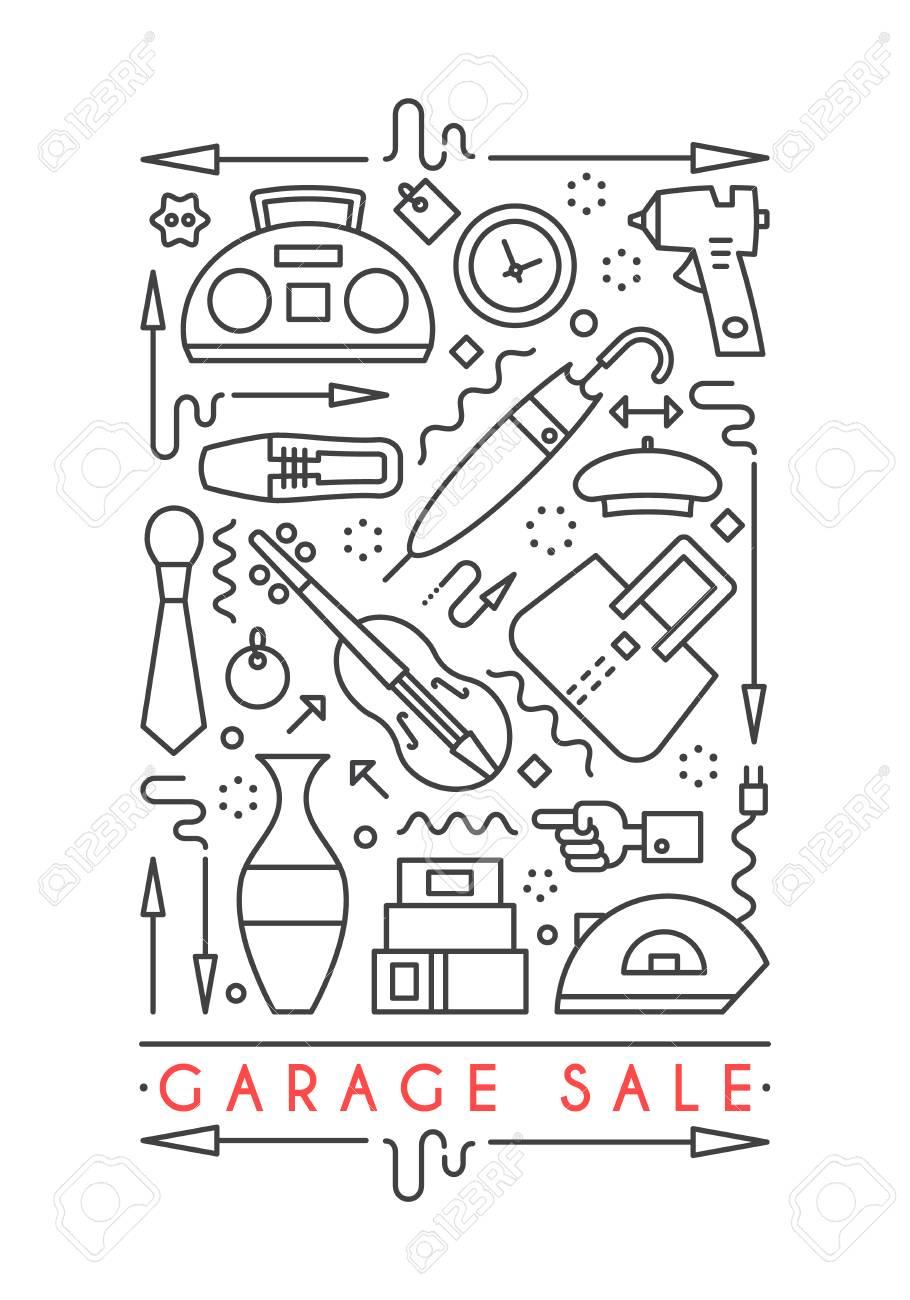 vector line style illustration garage sale yard sale flyer