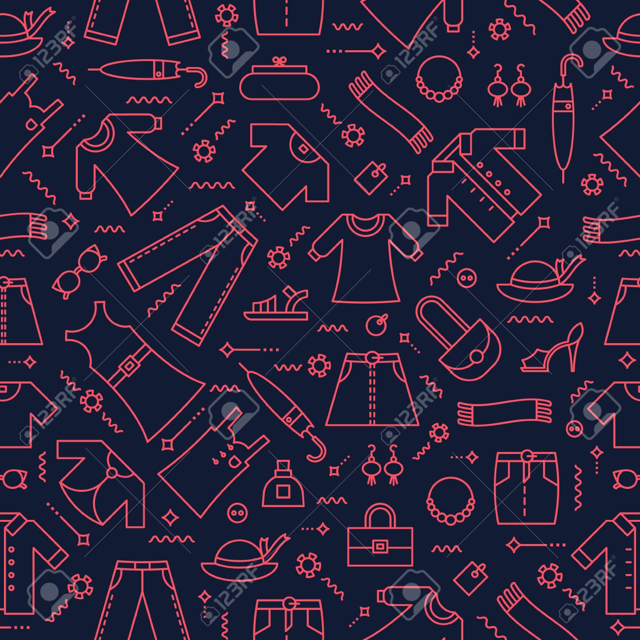 Editable Vector Seamless Pattern Women S Clothing Background Royalty Free Cliparts Vectors And Stock Illustration Image 94544374