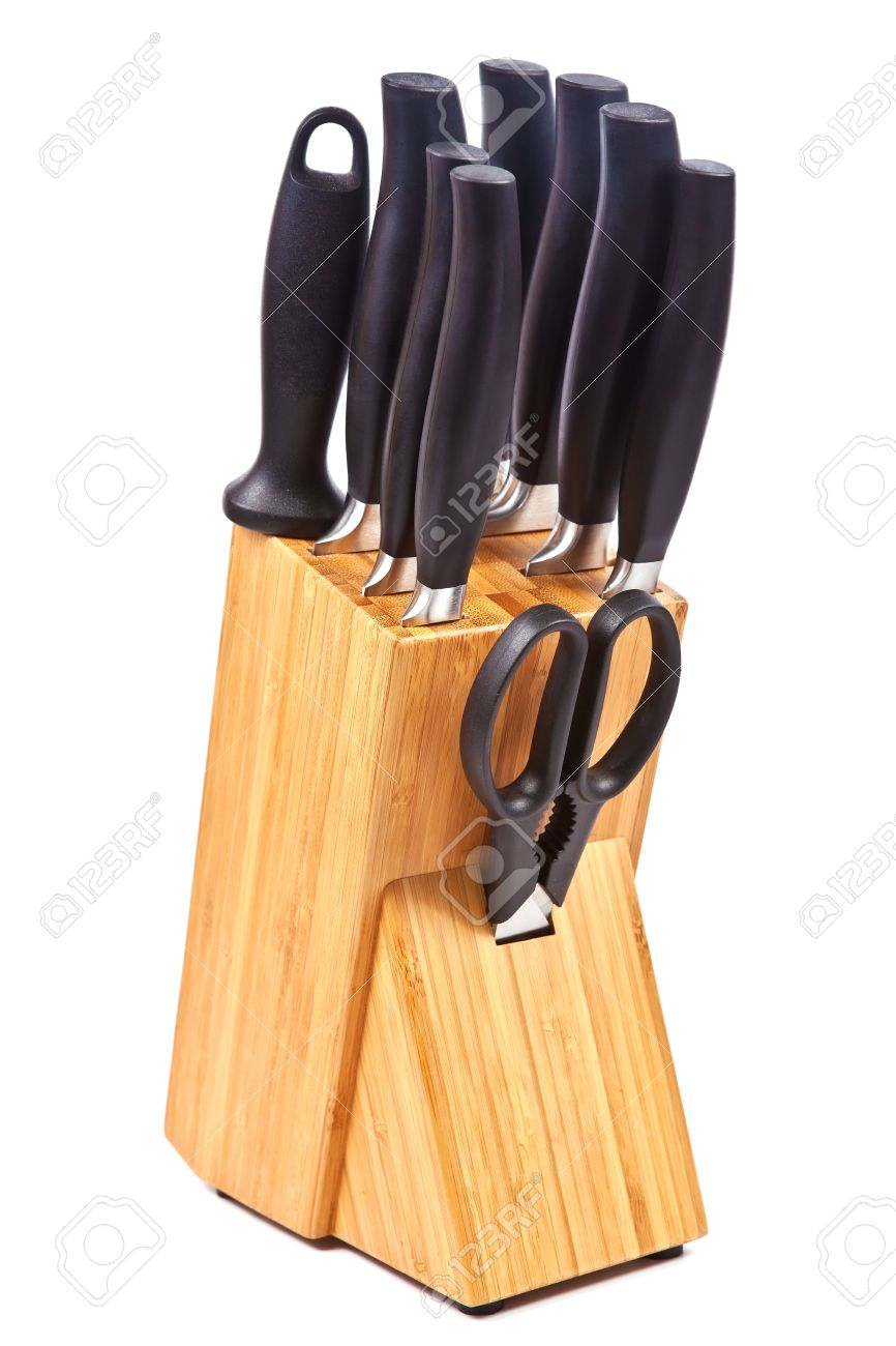 Set Of Kitchen Accessories Knives And A Scissor In The Wooden Stock Photo Picture And Royalty Free Image Image 14787882