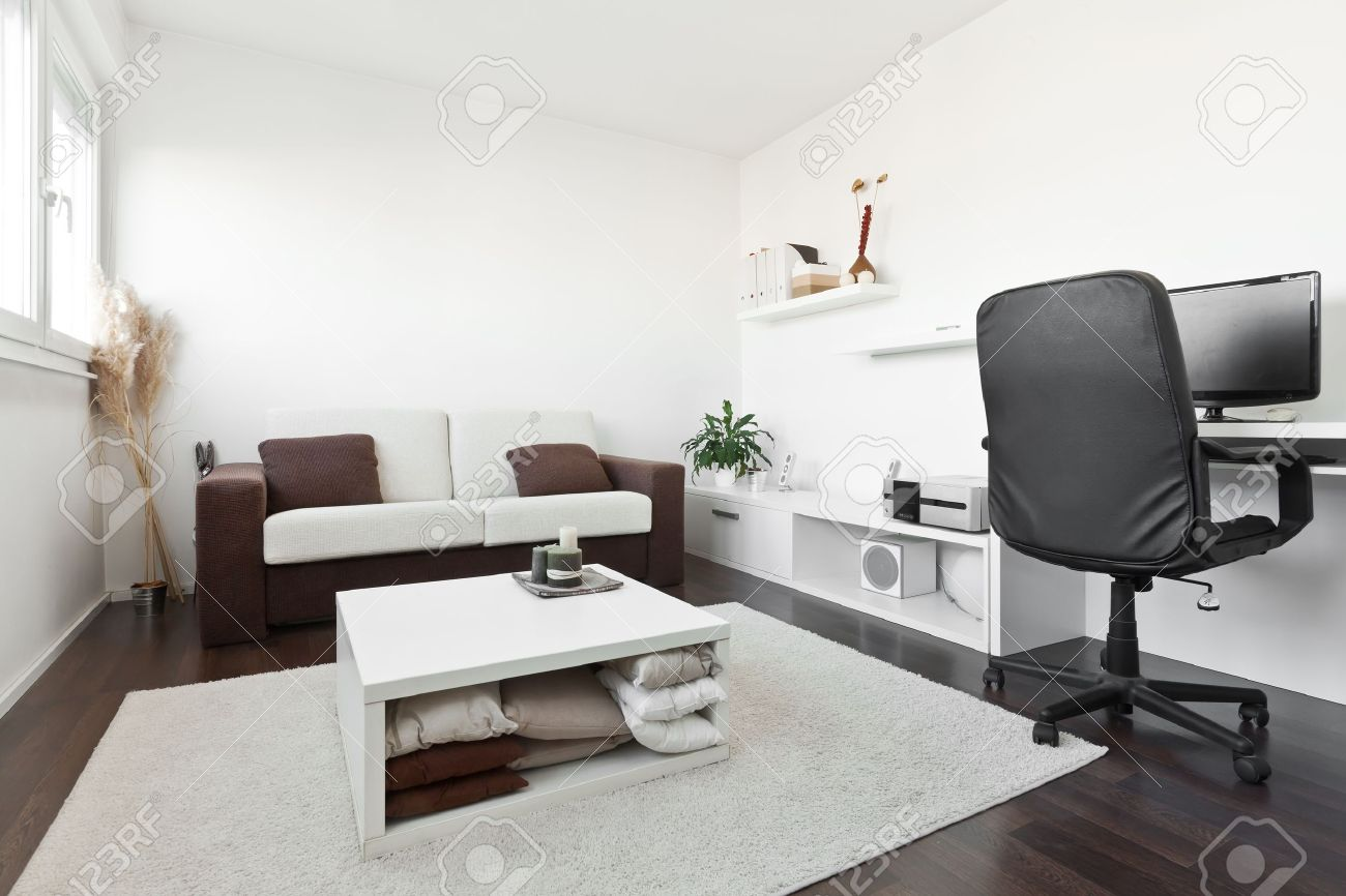 Great Modern Living Room With Computer Desk And The Screen, Sofa And Table With  White Carpet