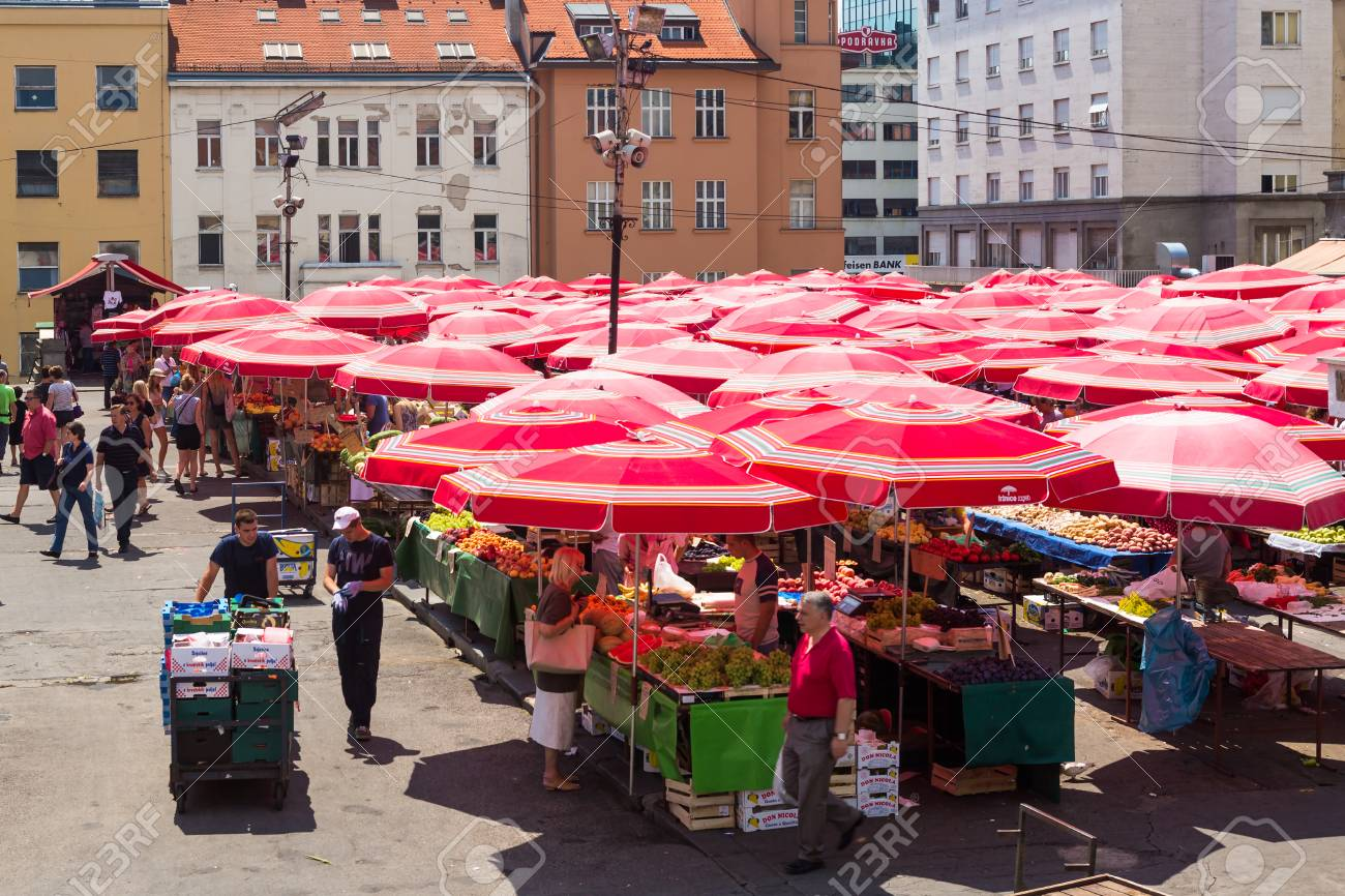ZAGREB, CROATIA - AUGUST 8, 2014: Customers and sellers at Dolac,