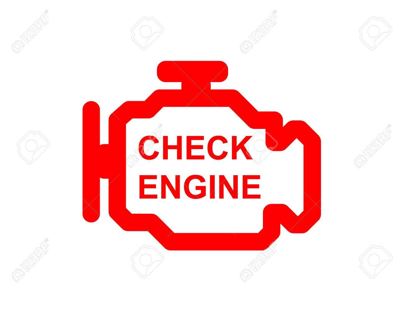 Malfunction or check engine car symbol, dash board close up - 71609931