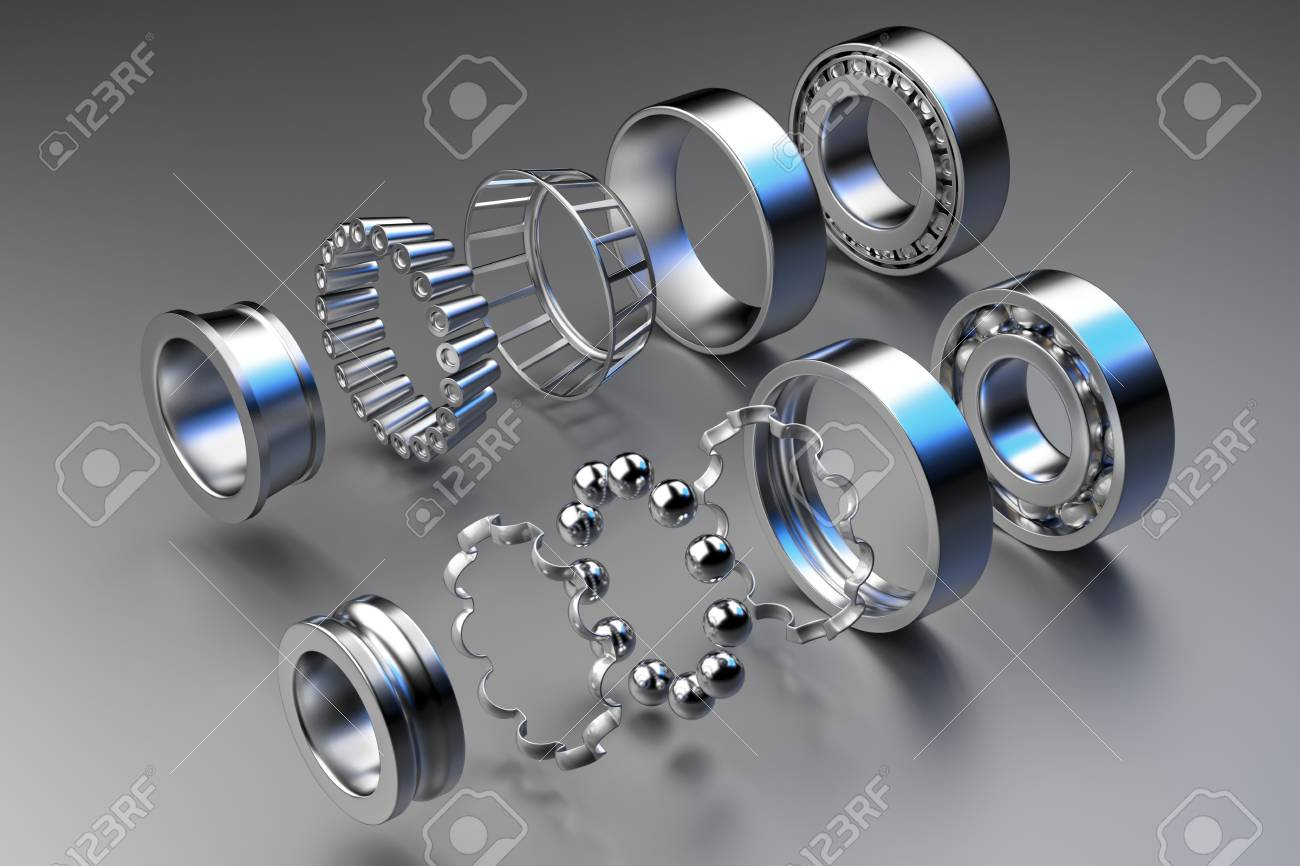 3D rendering. Automotive bearings auto spare parts. Ball bearing on a dark background. Wheel bearing for truck, heavy duty and car. - 120249553