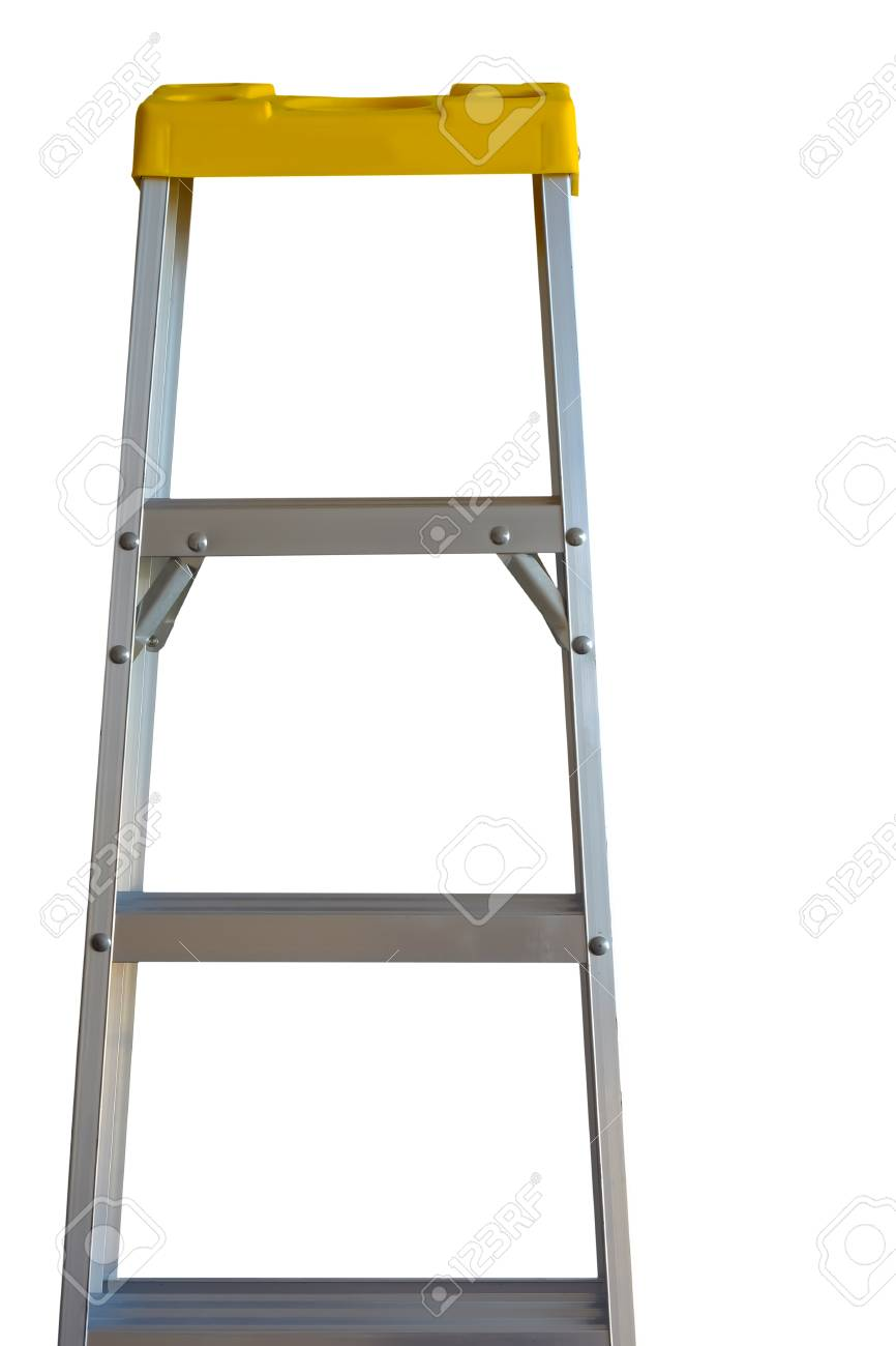 Isolated Aluminum Foldable Stairs Stock Photo   88599865