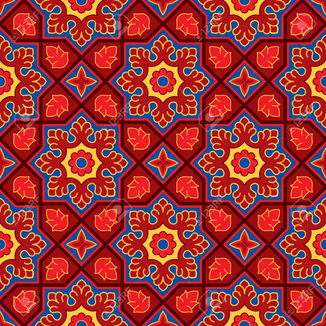 Sindhi Traditional Pattern Background Red Blue Wallpaper