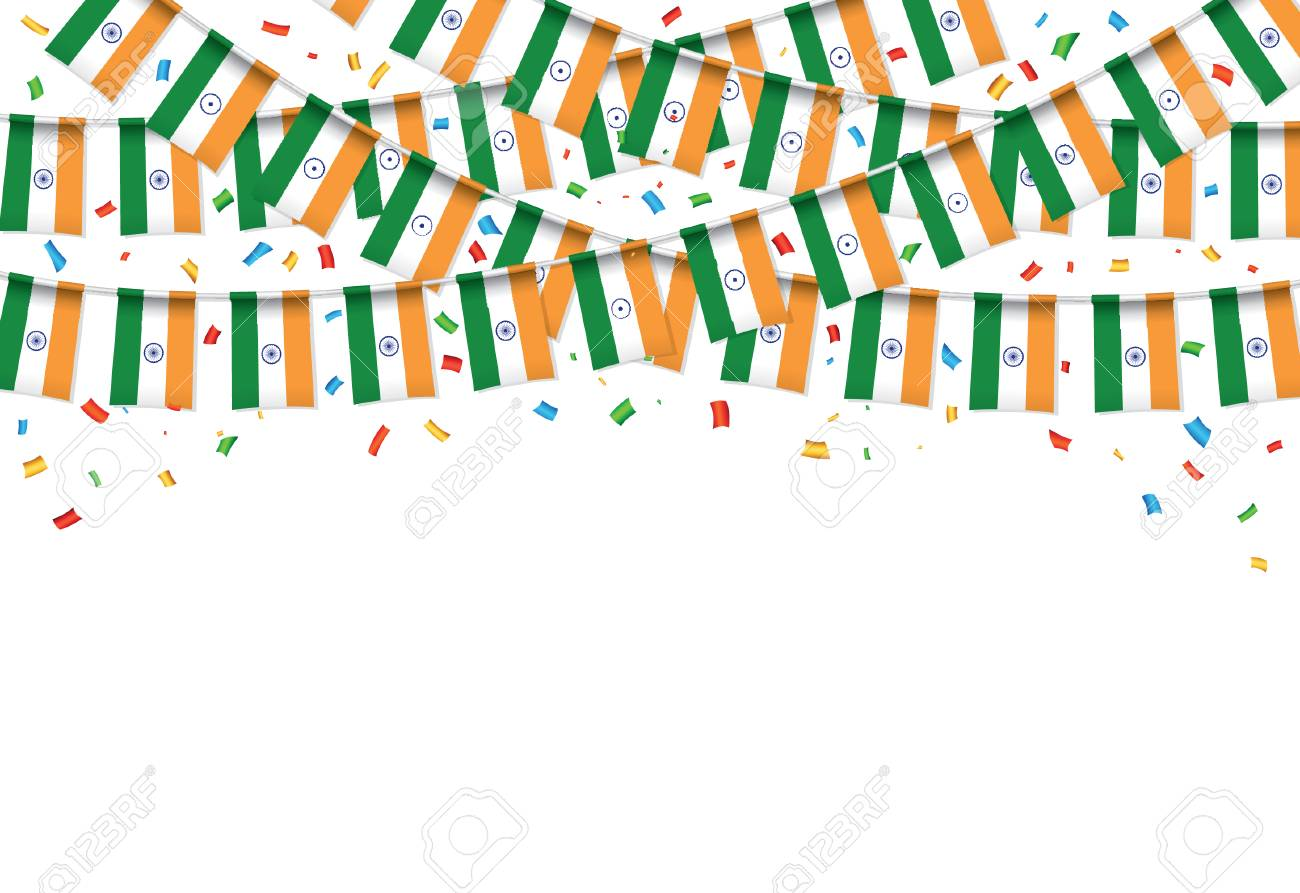 India Flag Garland White Background With Confetti, Hang Bunting ...