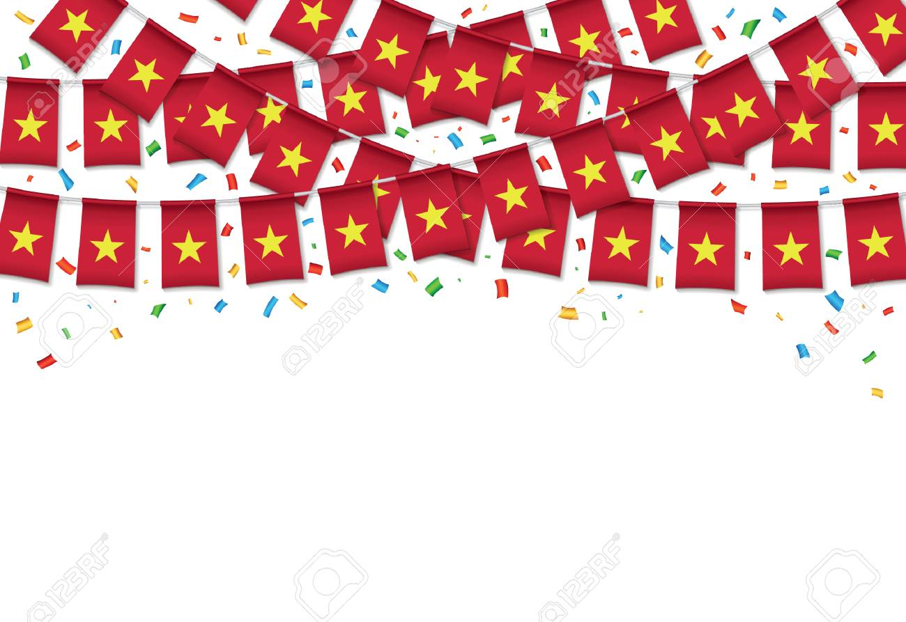 Vietnam Flags Garland White Background With Confetti Hang Bunting Royalty Free Cliparts Vectors And Stock Illustration Image 100405501