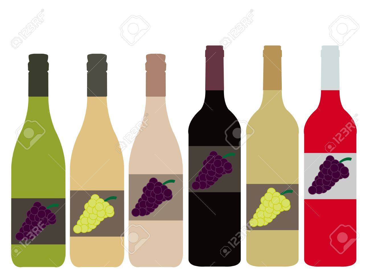 Different Kinds of Wine Bottles Stock Vector - 15388224