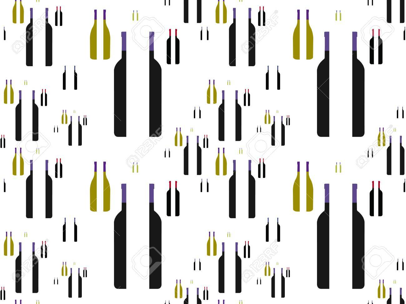 Bottles of Wine in Halves Background Seamless Pattern Stock Vector - 15401178