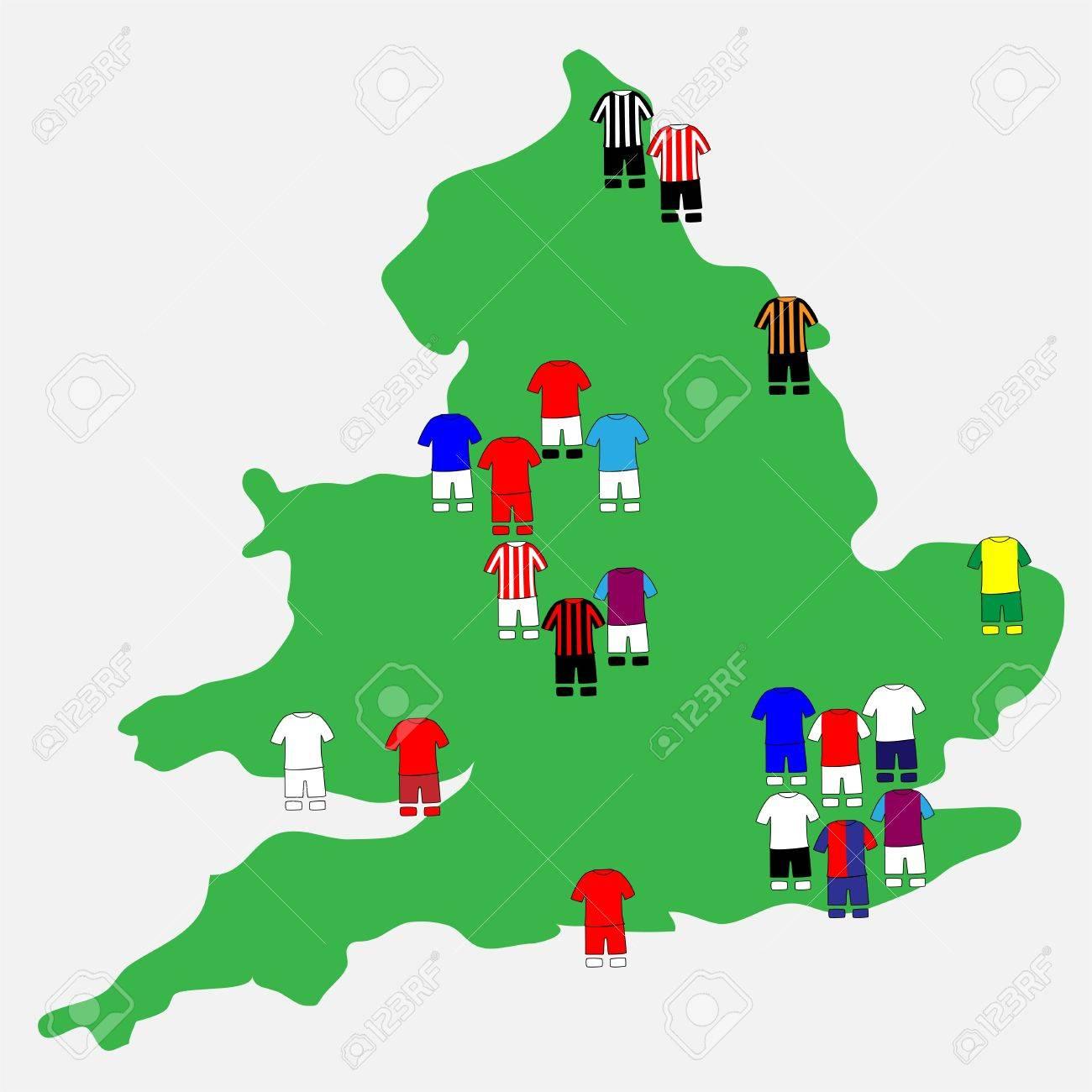 English League Clubs Map 2013-14 Premier League Stock Vector - 21214984