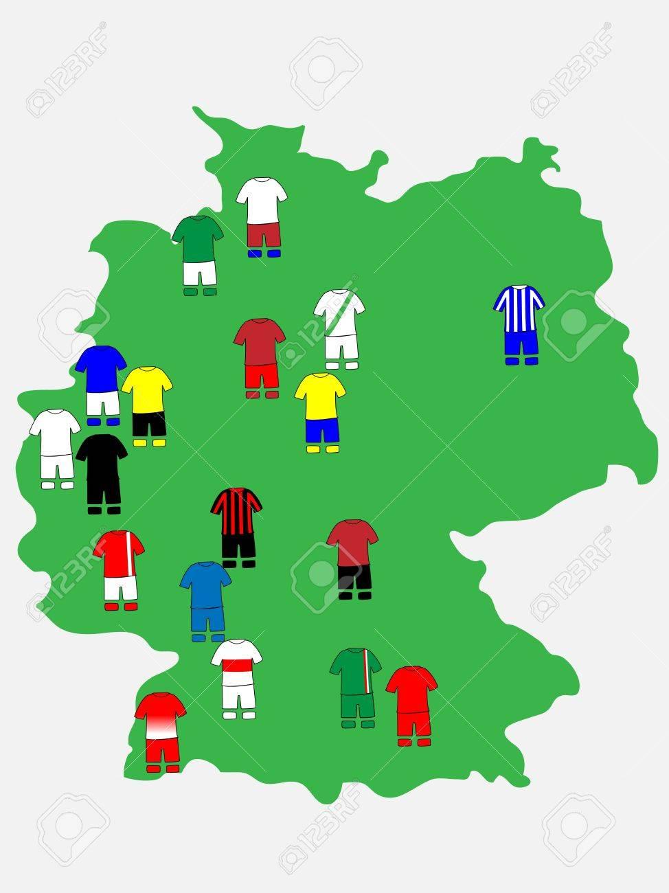 German League Clubs Map 2013-14 Bundesliga Stock Vector - 21214985