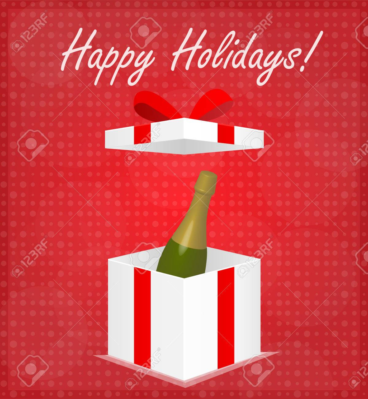 Happy Holidays Greeting Card Gift Box with Champagne Red Background Stock Vector - 24232063