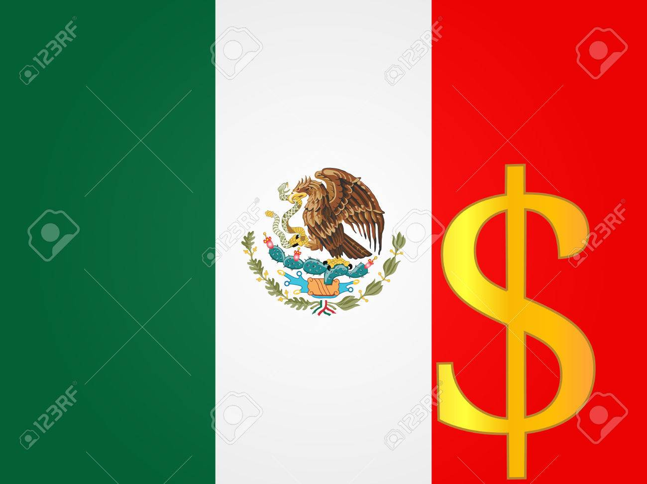 Peso Currency Sign Over The Mexican Flag Royalty Free Cliparts