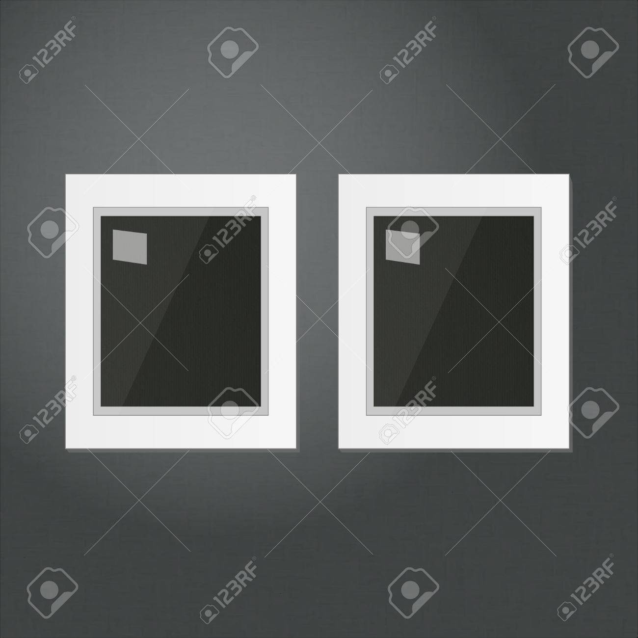 Two White Frames Template Hanging On A Black Wall Royalty Free ...